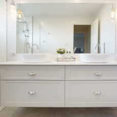 Melboure bathroom renovation featuring custom joinery.