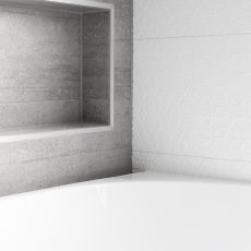 Tiled bath niche with textured tiles in Melbourne