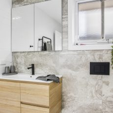 Mirrored Shaving cabinet with timber vanity in Melbourne