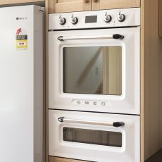 White Smeg Oven in Timber Kitchen