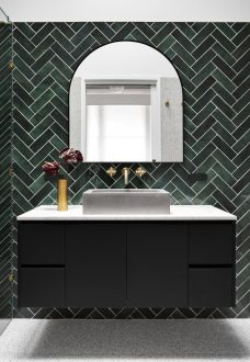 Image of our bathroom designs with a herringbone feature