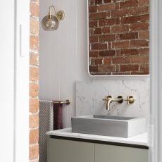 Exposed Brick Feature Wall Bathroom