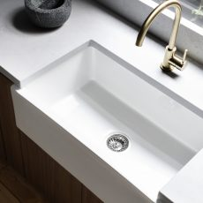 Farmhouse sink gold tap ware MJ Harris