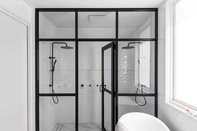 Balwyn shower with black frame