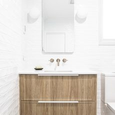Timber vanity in Melbourne bathroom