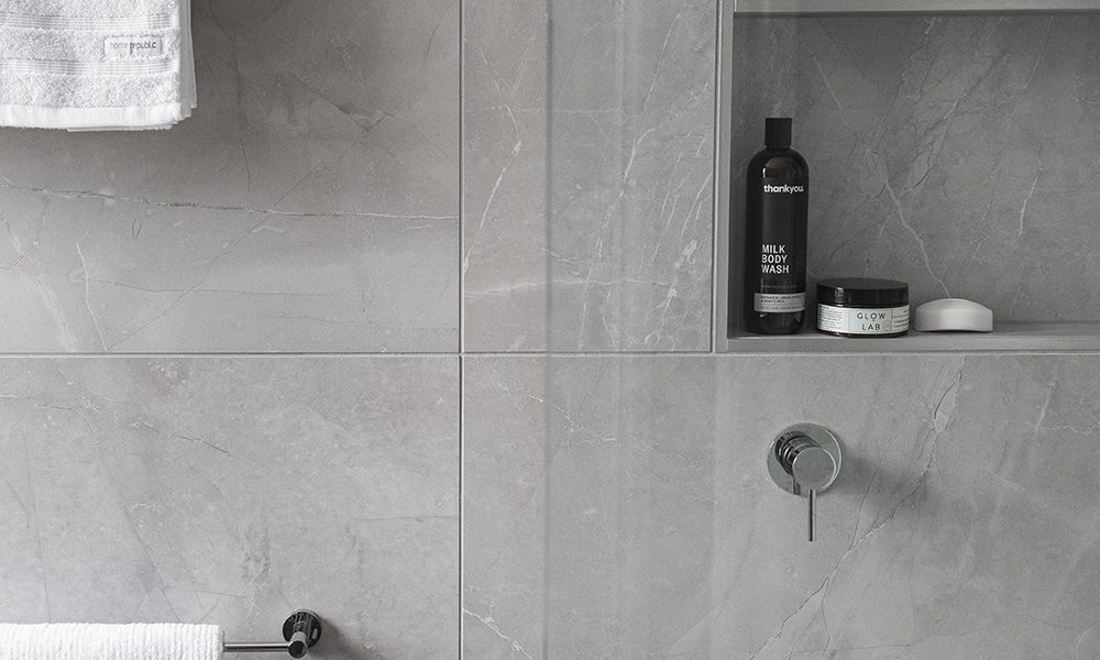 Feature Shower Niche with towel rails in ensuite