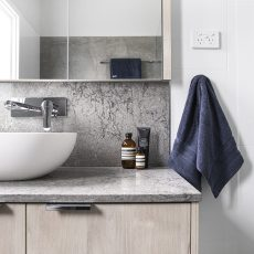 bentleigh bathroom renovation caesarstone timber look vanity