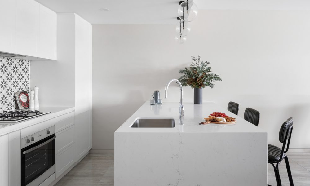 Waterfall ends with reconstituted stone benchtops