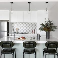 Kitchen Renovation in Parkville with Island bench and feature pendants