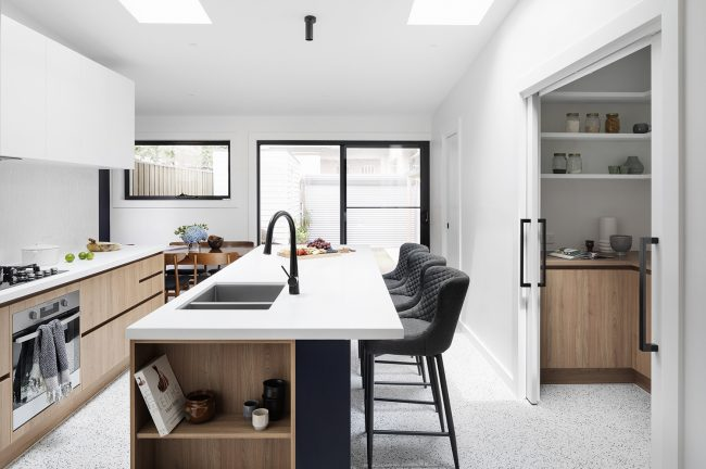 Custom Kitchen with Skylights and butlers pantry in Brunswick, Melbourne