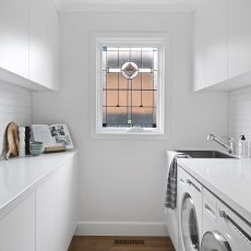 White laundry with lead light window